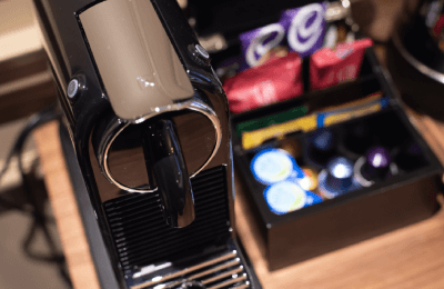 hotel room with nespresso machine in london